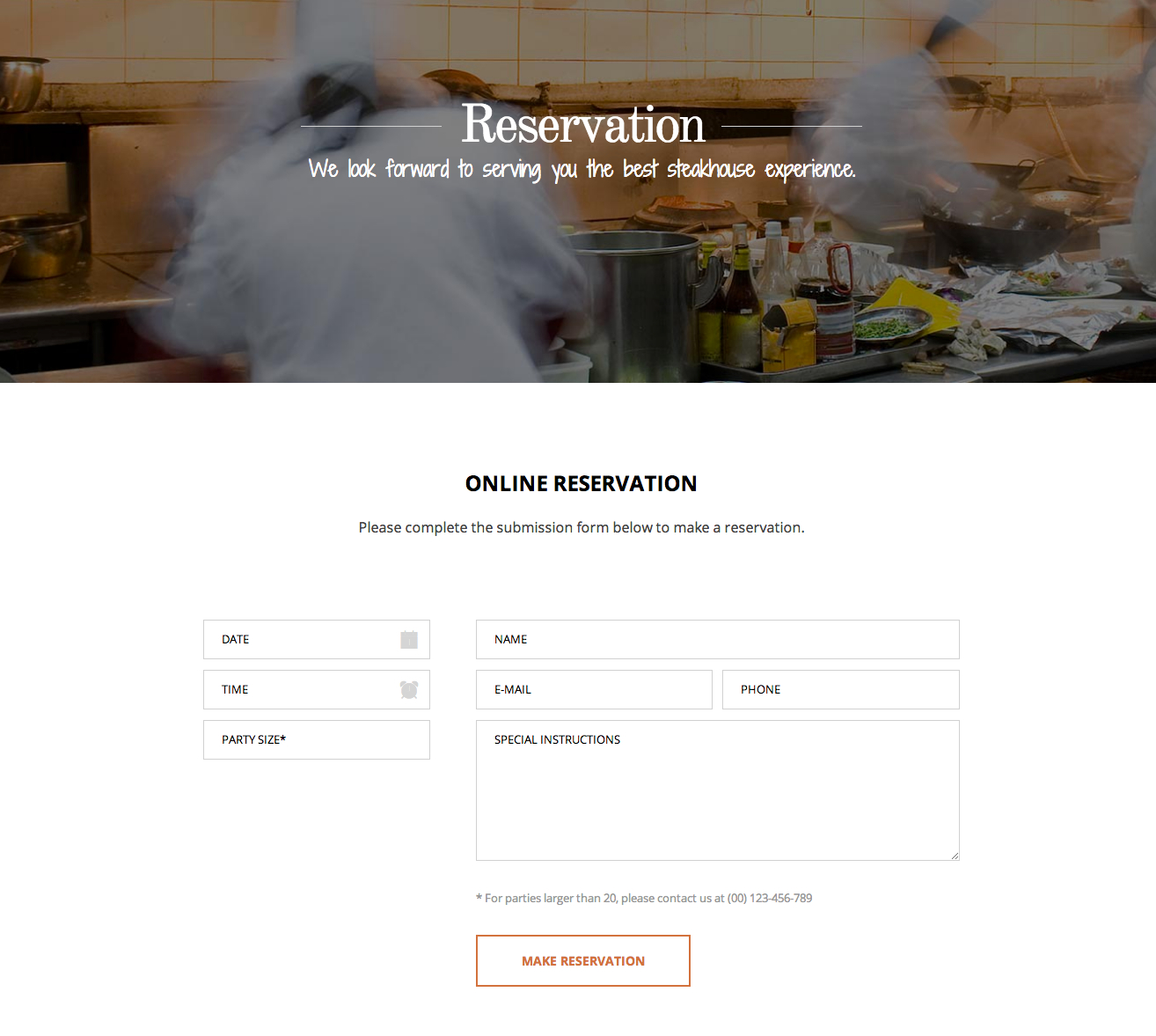 Reservation subpage